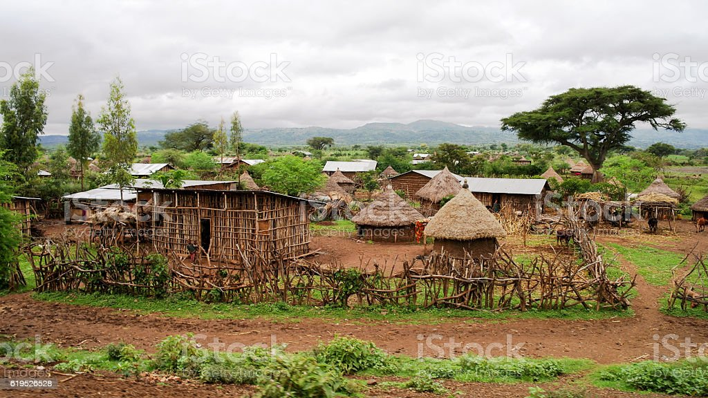 Traditional Konso tribe village Ethiopia stock photo