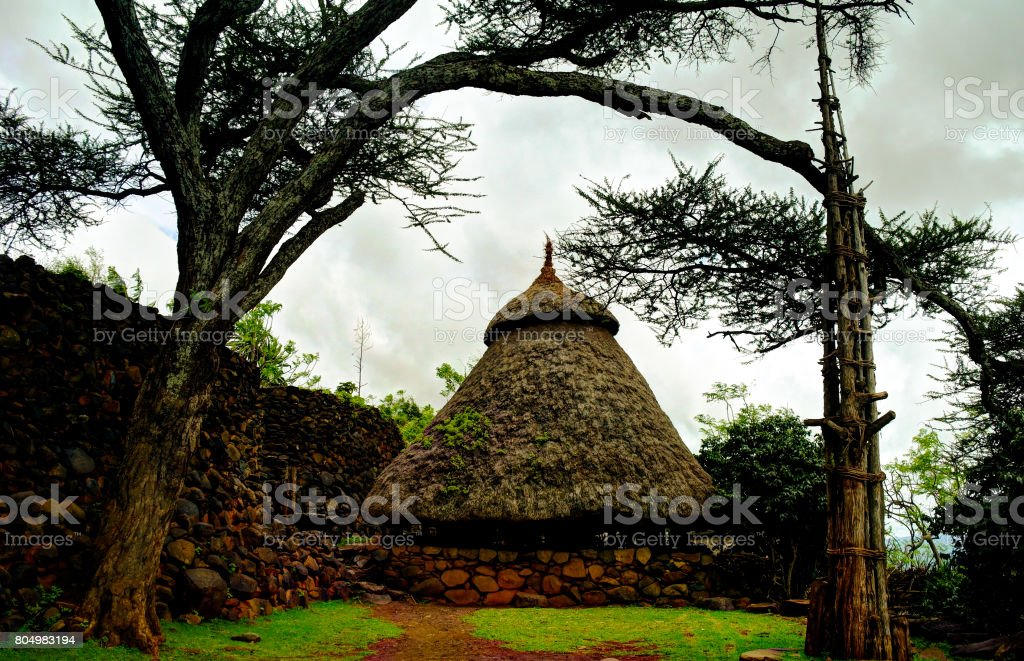 Traditional Konso tribe village, Karat Konso , Ethiopia stock photo