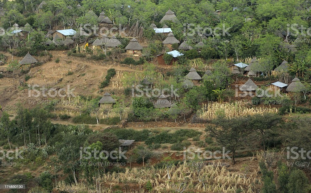Traditional Konso village and huts, Ethiopia stock photo