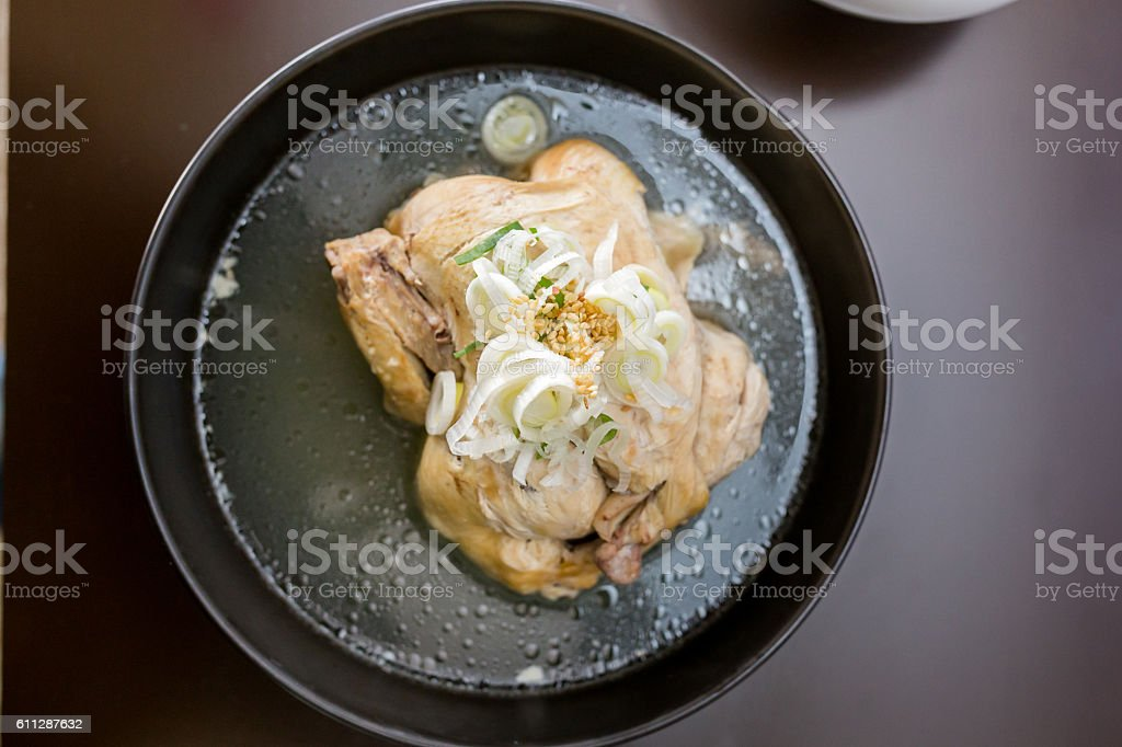Traditional korea food-Ginseng chicken soup stock photo