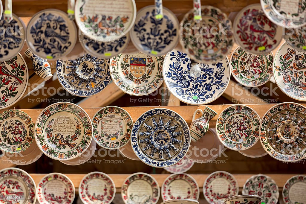 Traditional Korond (Corund) style ceramics at a market in Transylvania stock photo