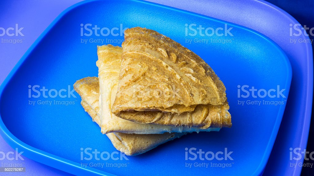 Traditional Kuih Kapit or the Malaysian Chinese Love Letter biscuit stock photo