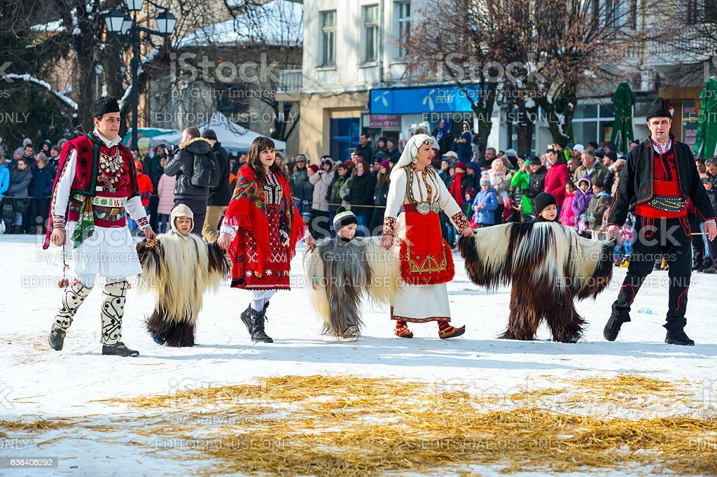 traditional Kukeri costume festival in Bulgaria stock photo