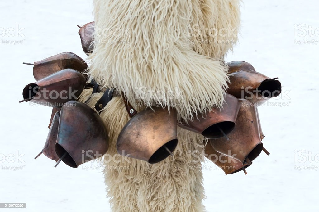 traditional Kukeri costume stock photo
