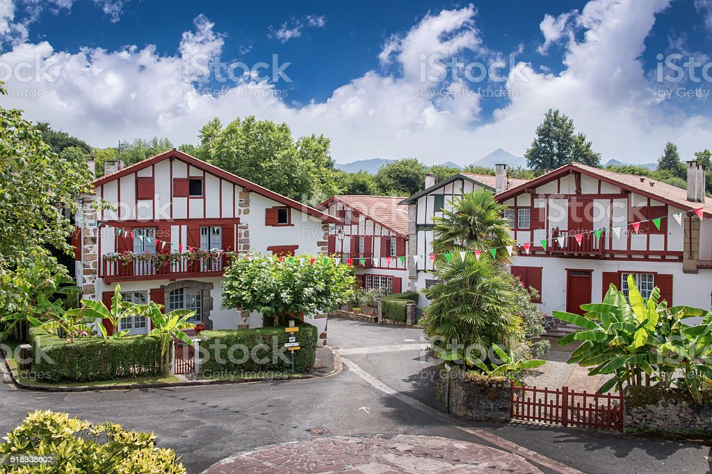 Traditional Labourdine houses, Basque country, France stock photo