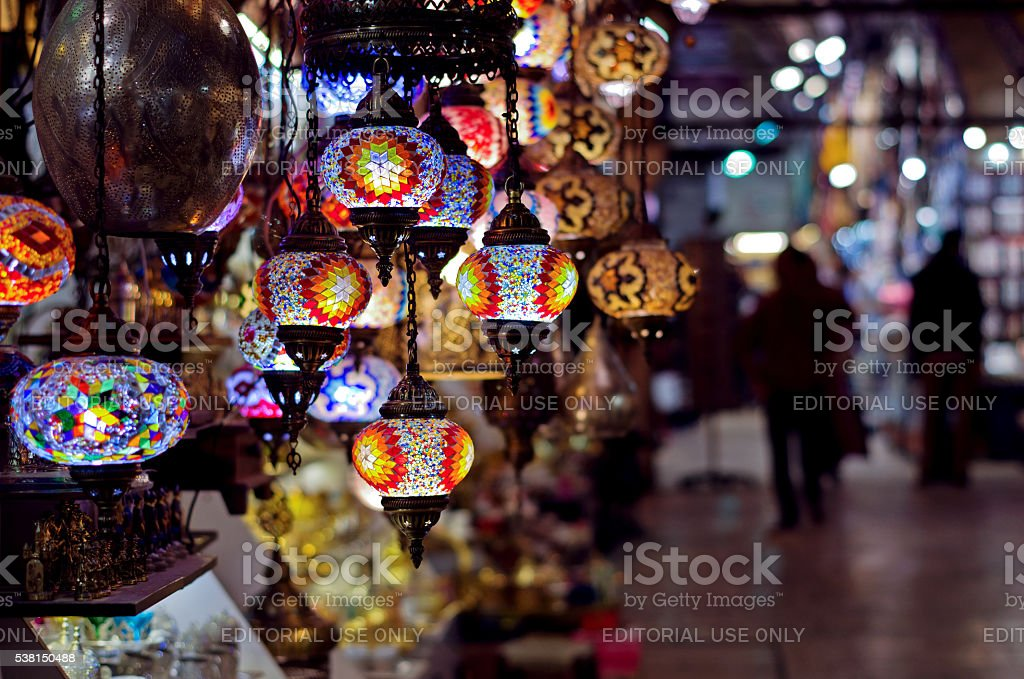 Traditional lamps at  the Grand Bazaar in Istanbul stock photo