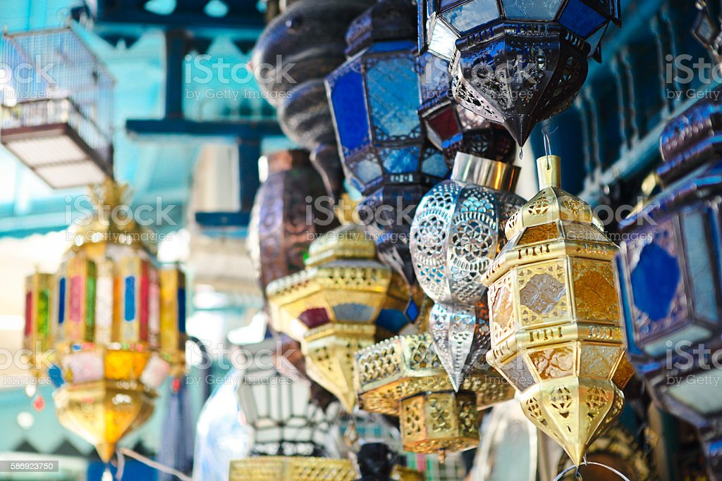 Traditional lamps in shop at the medina of Tunis,Tunisia stock photo