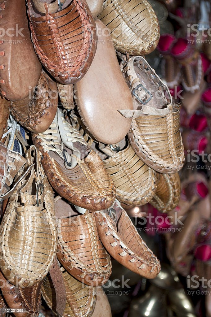 Traditional Leather Balkan Shoes royalty-free stock photo