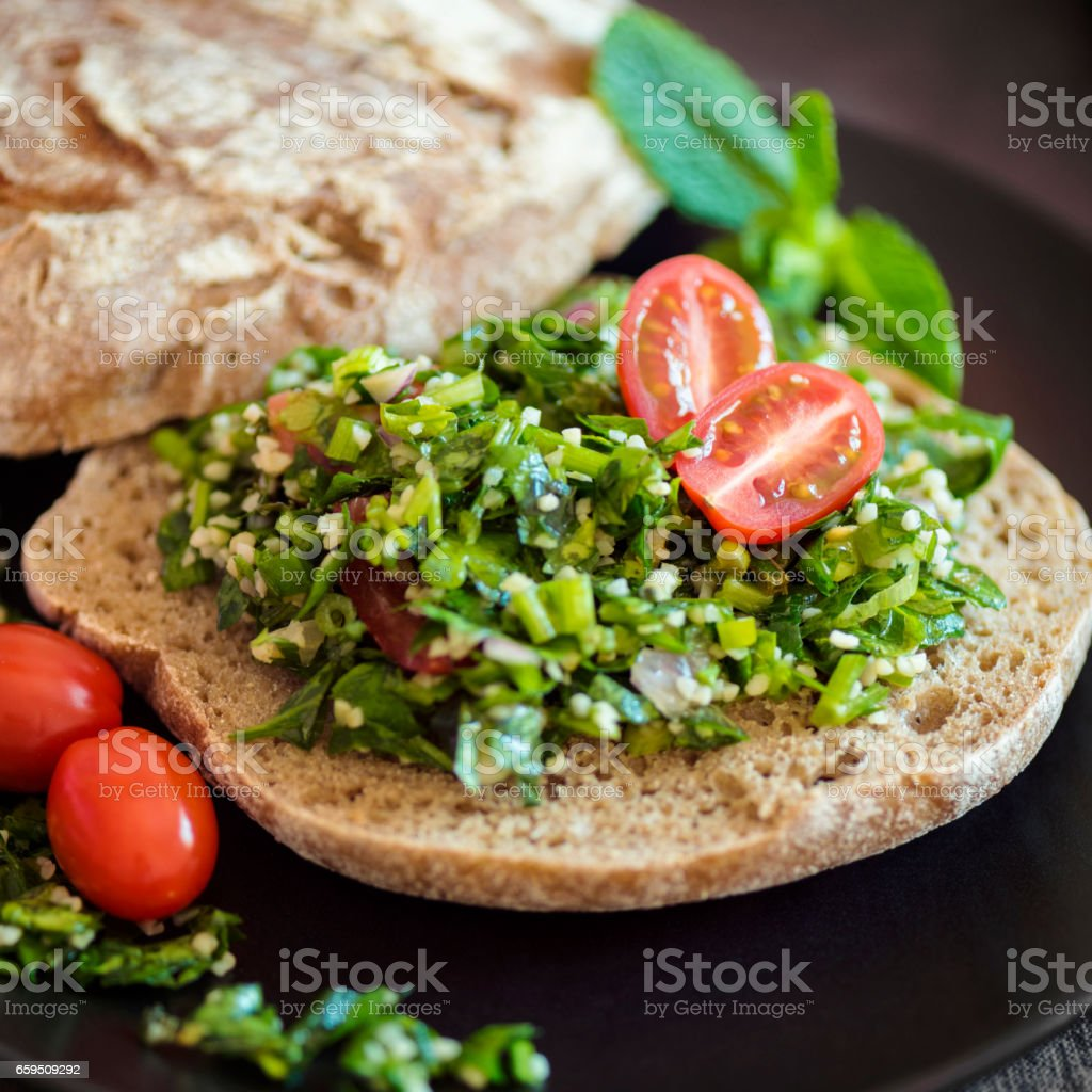 Traditional Lebanese Tabbouleh with Bread stock photo