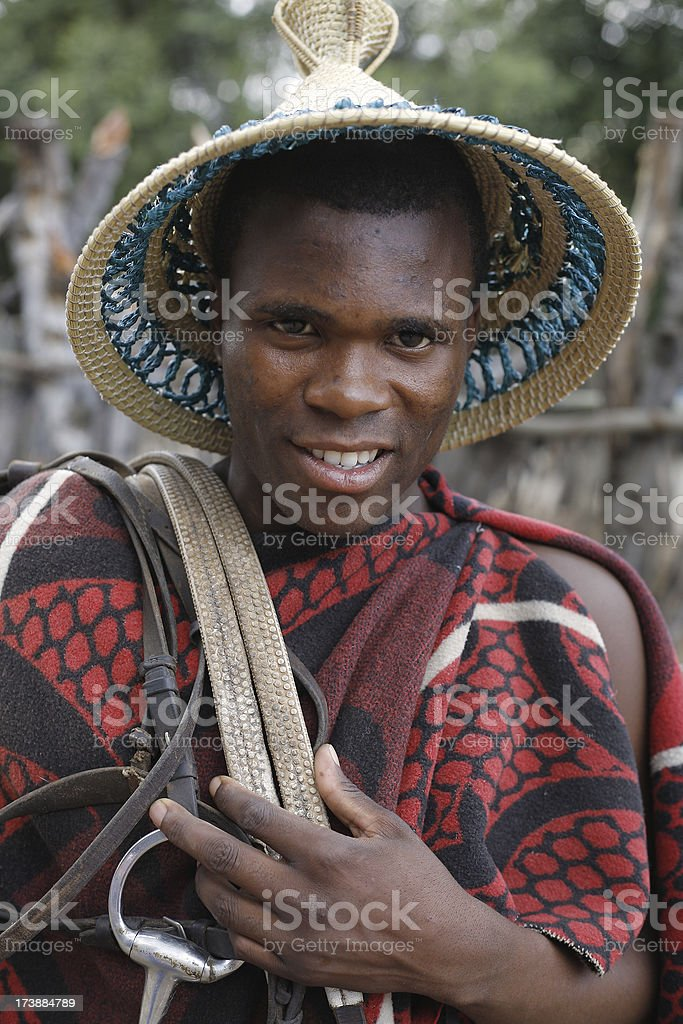 Traditional Lesotho man South Africa stock photo
