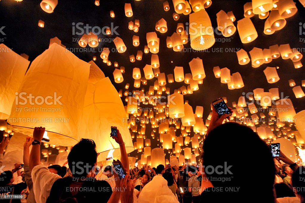 Traditional lights floating balloon in Chiang Mai Thailand. stock photo