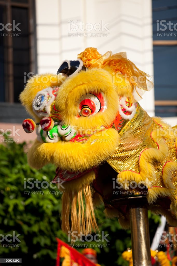 Traditional lion dance during Chinese New Year stock photo