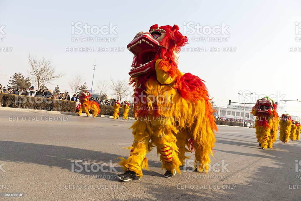 Traditional lion dancing stock photo