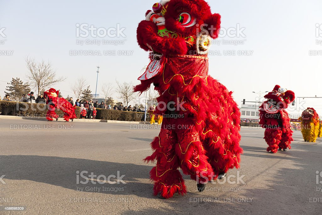 Traditional lion dancing royalty-free stock photo