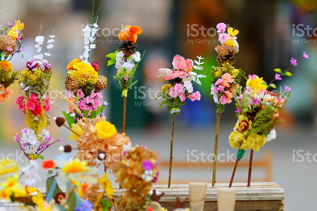 Traditional lithuanian Easter palm bouquets stock photo
