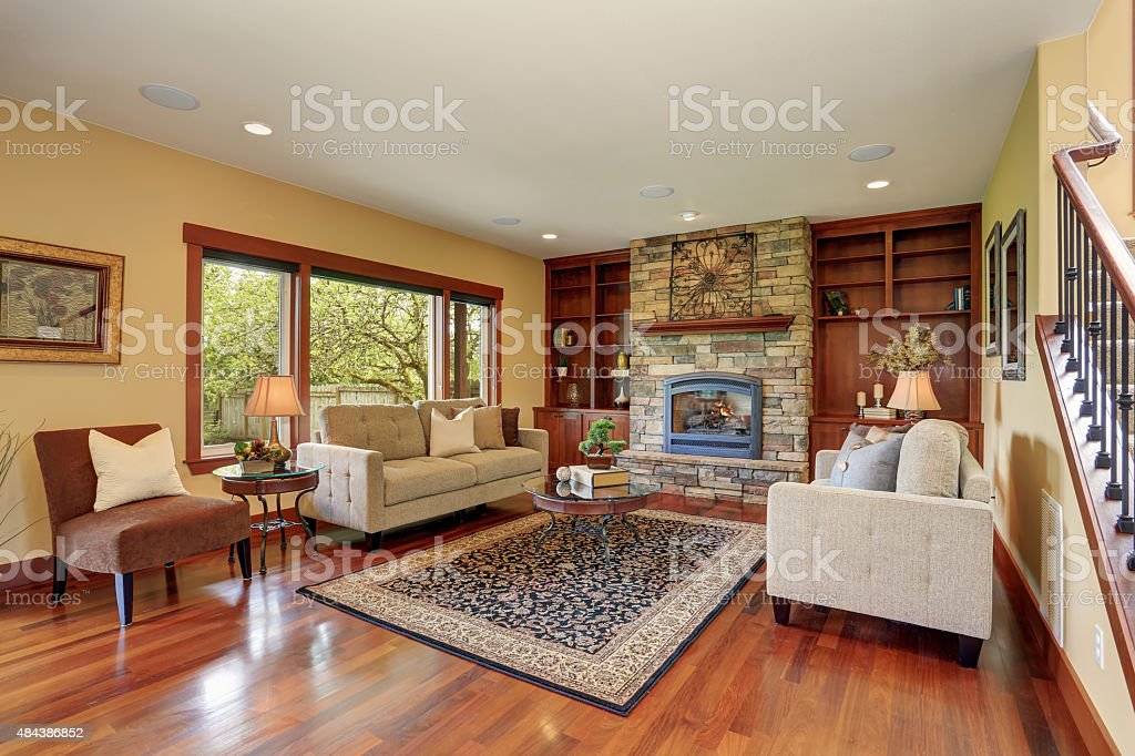 Traditional living room with hardwood floor. stock photo