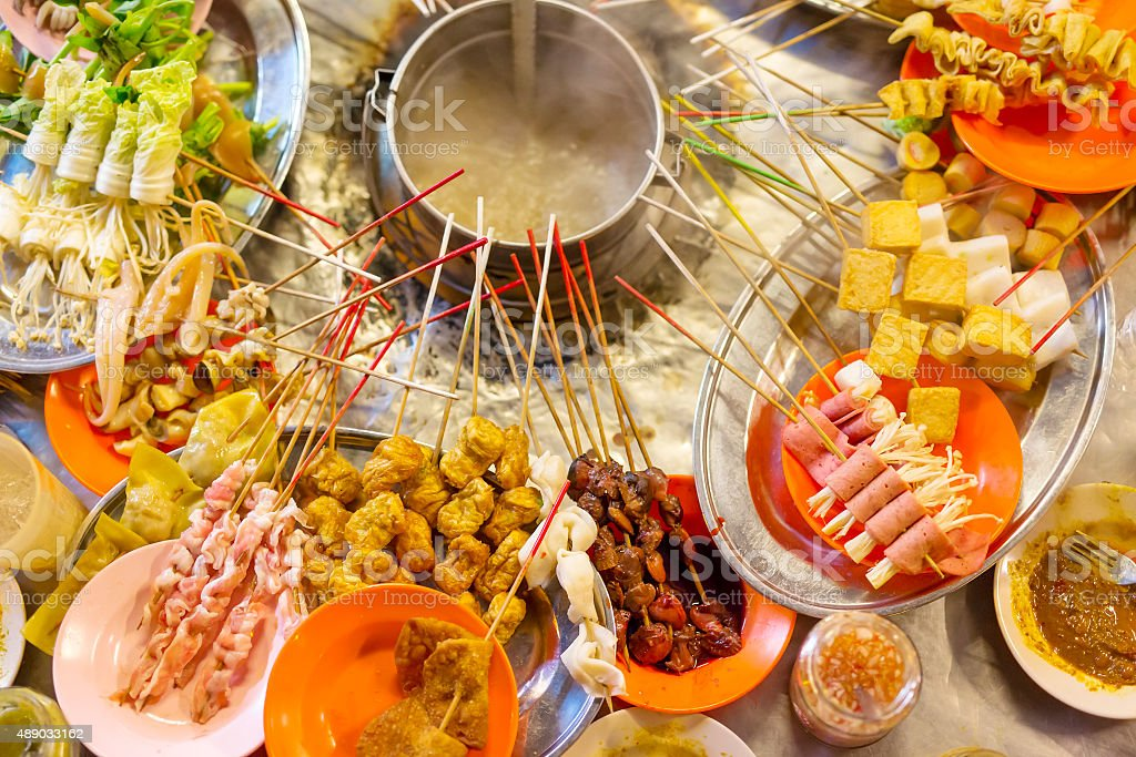 Traditional lok-lok street food from Asia stock photo