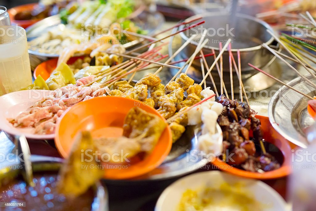 Traditional lok-lok street food from Malaysia stock photo