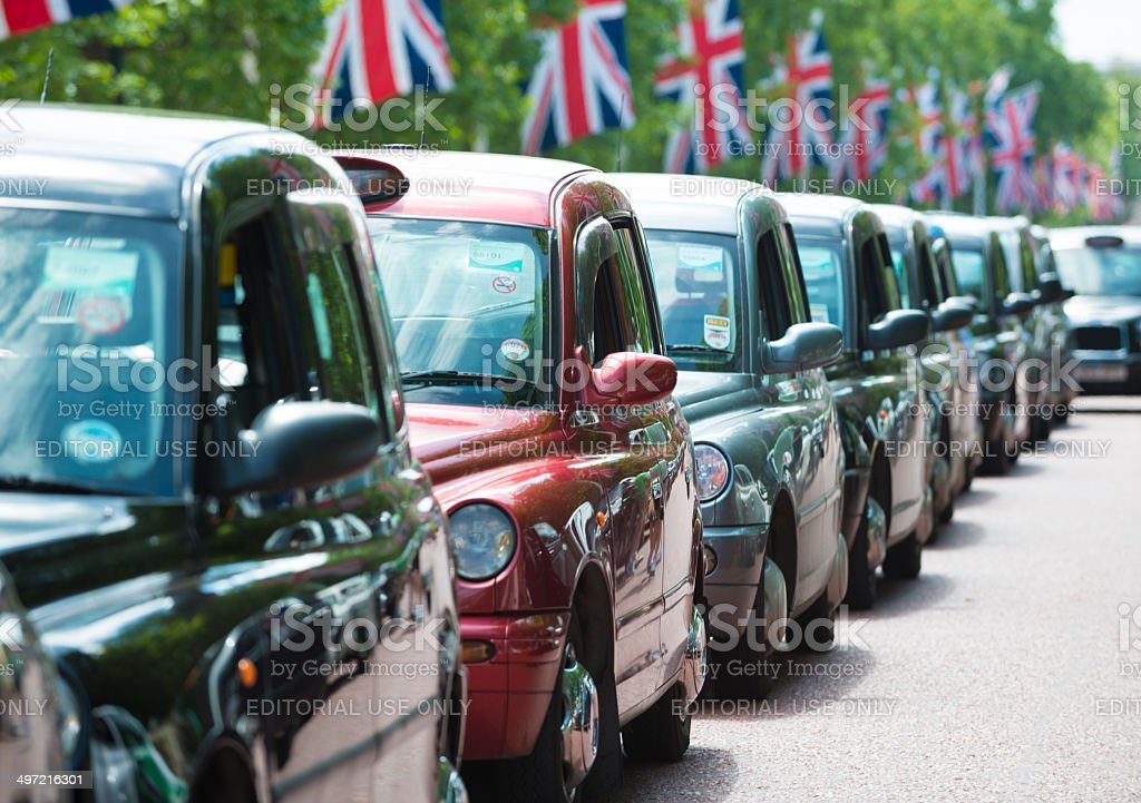 Traditional London Black Cabs stock photo
