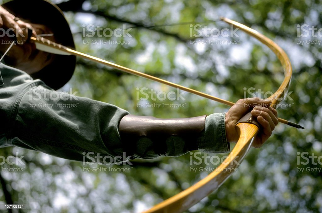 traditional longbow archer stock photo