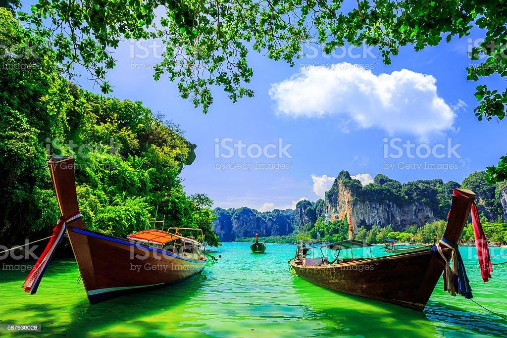 Traditional longtail boat at Railay beach, Ao Nang, Thailand stock photo