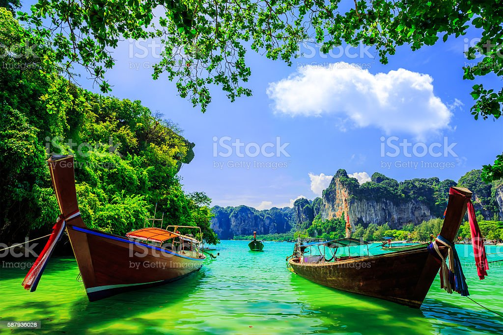 Traditional longtail boat at Railay beach, Ao Nang, Thailand stock photo