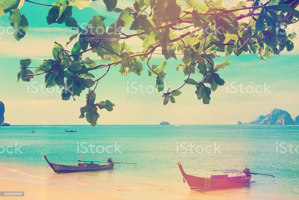 Traditional longtail boats at Andaman sea stock photo