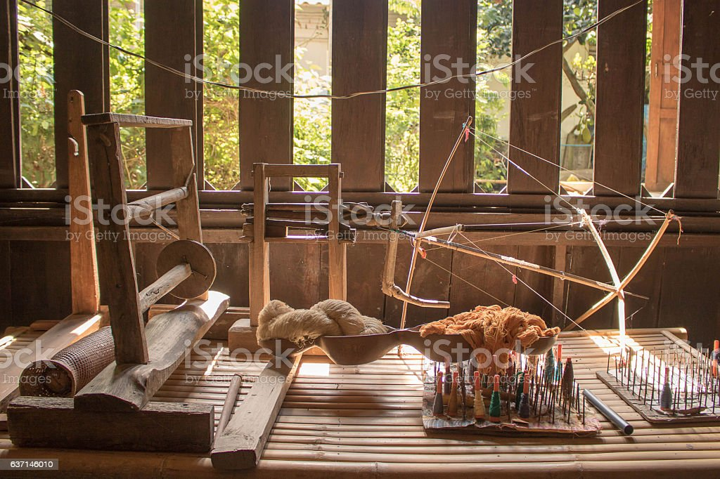 Traditional loom of Thailand stock photo