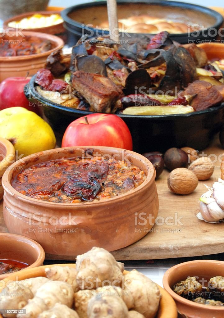 Traditional macedonian and balkans food stock photo