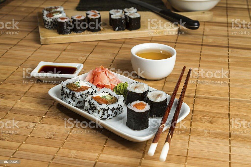 Traditional Maki and Uramaki Sushi on the white plate royalty-free stock photo