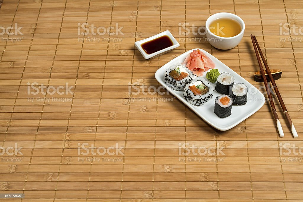 Traditional Maki and Uramaki Sushi royalty-free stock photo