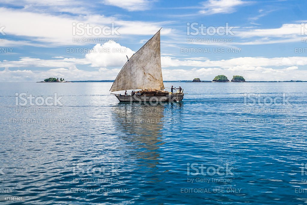 Traditional malagasy dhow royalty-free stock photo