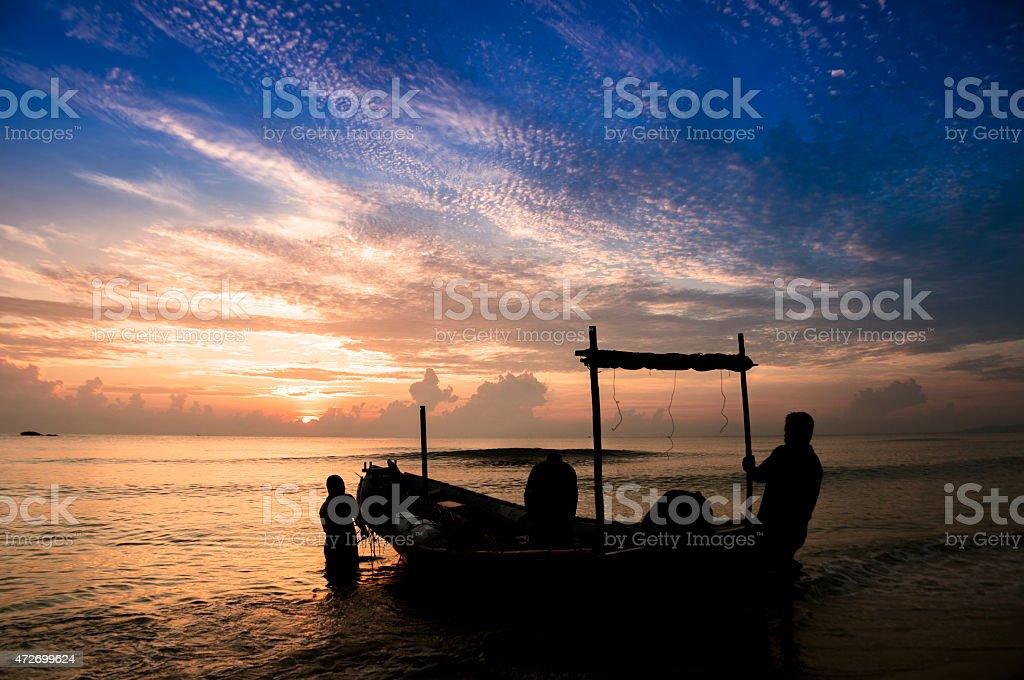 Traditional Malaysian Fisherman stock photo