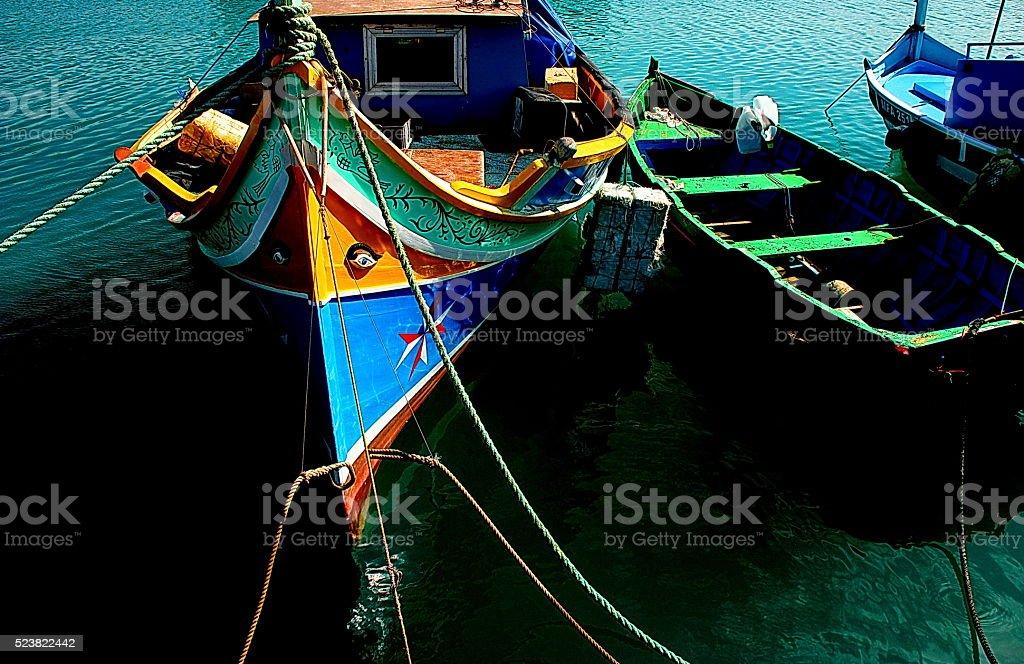 Traditional Maltese boats (Luzzu ) stock photo