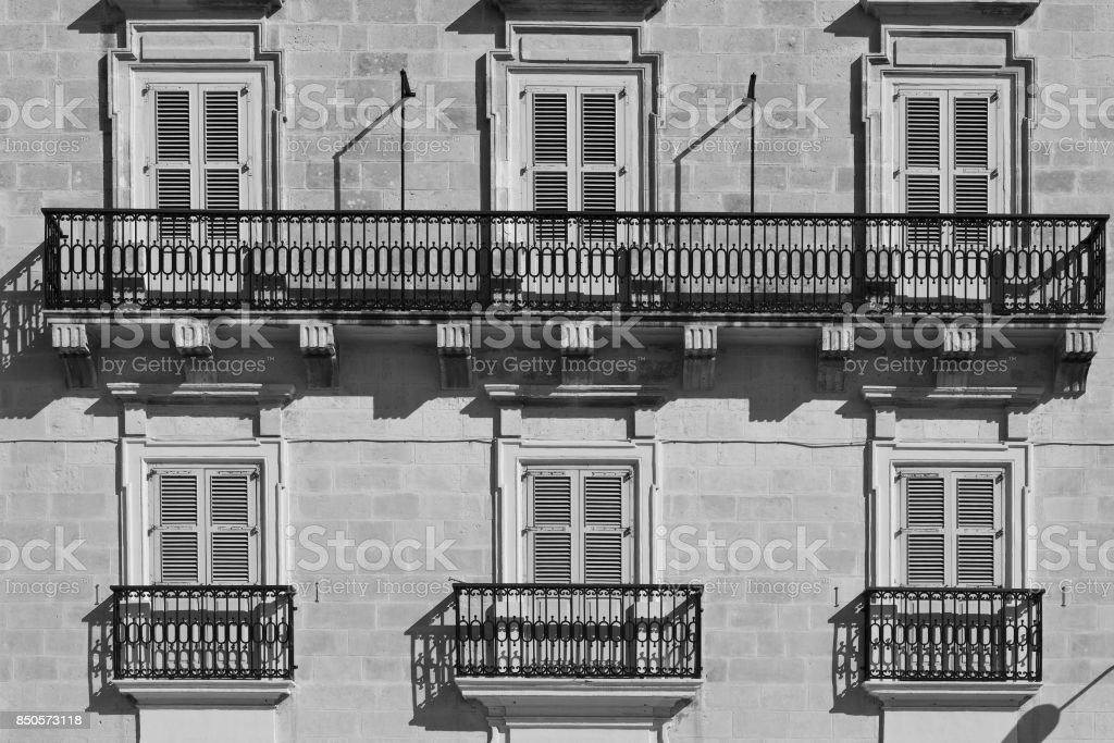 Traditional maltese windows stock photo
