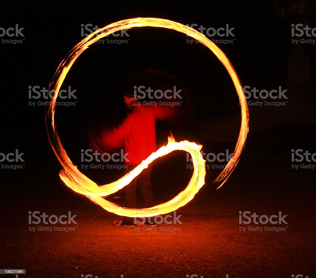 Traditional Maori Dancer with Fire stock photo
