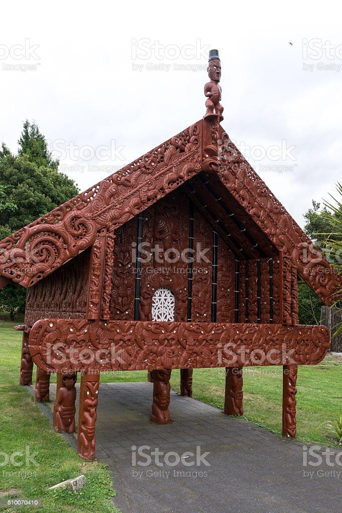traditional maori storehouse stock photo