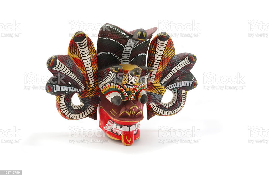 Traditional mask of the devil with snakes from Ceylon stock photo
