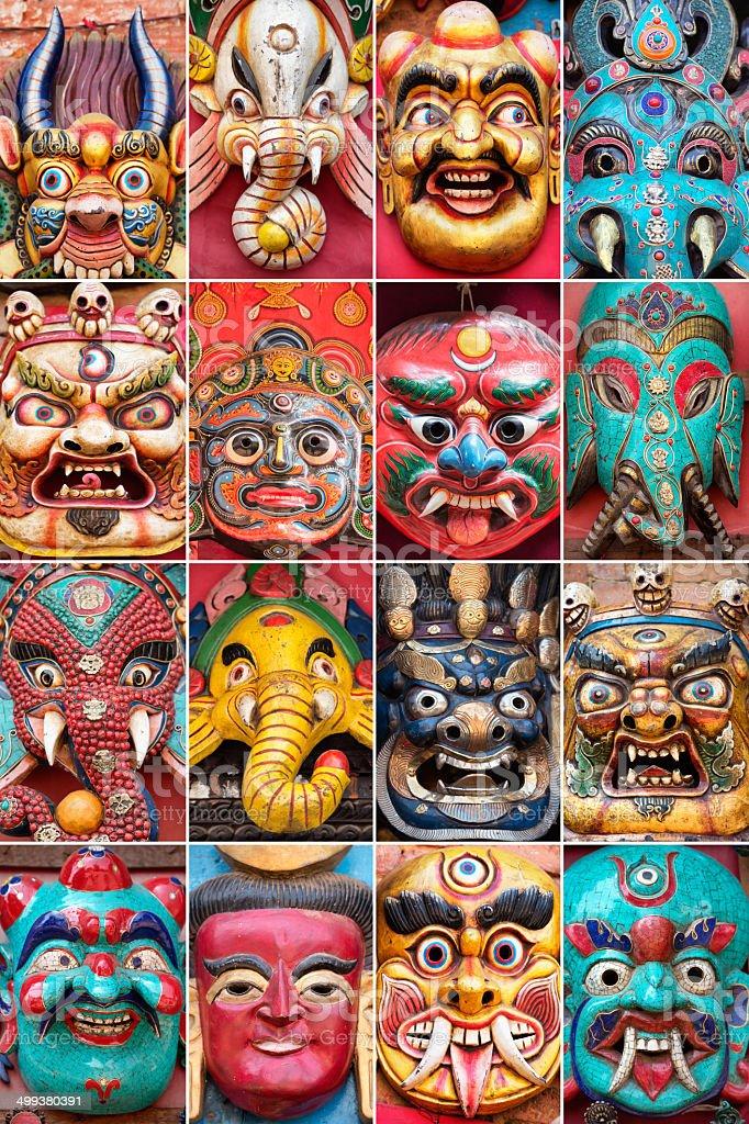 Traditional Masks of Nepal stock photo