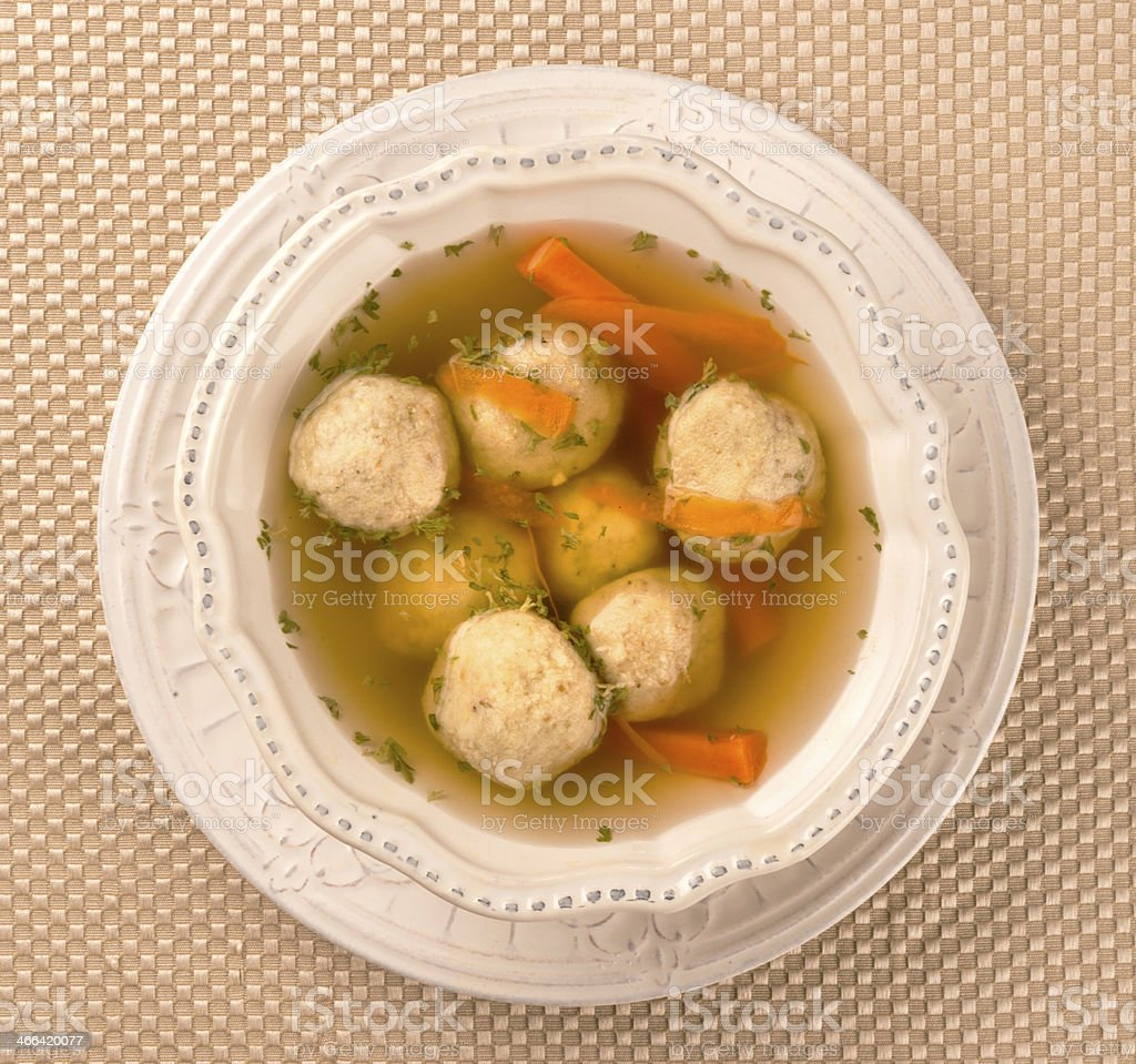 Traditional Matzah Ball Soup for Passover stock photo