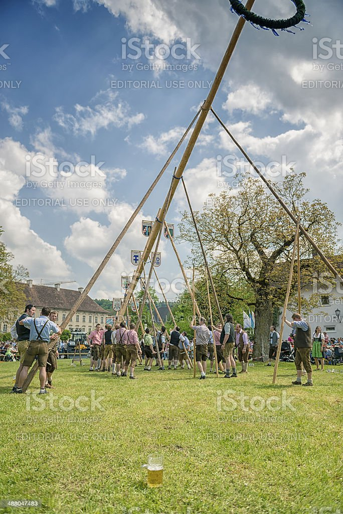 Traditional maypole setting in Burghausen royalty-free stock photo
