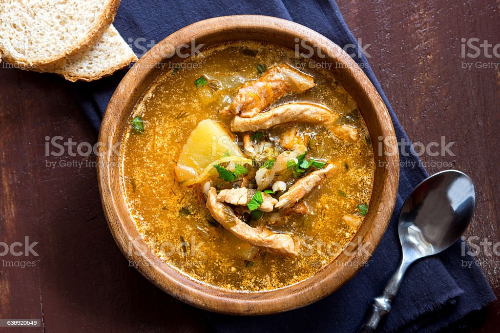 traditional meat soup stock photo