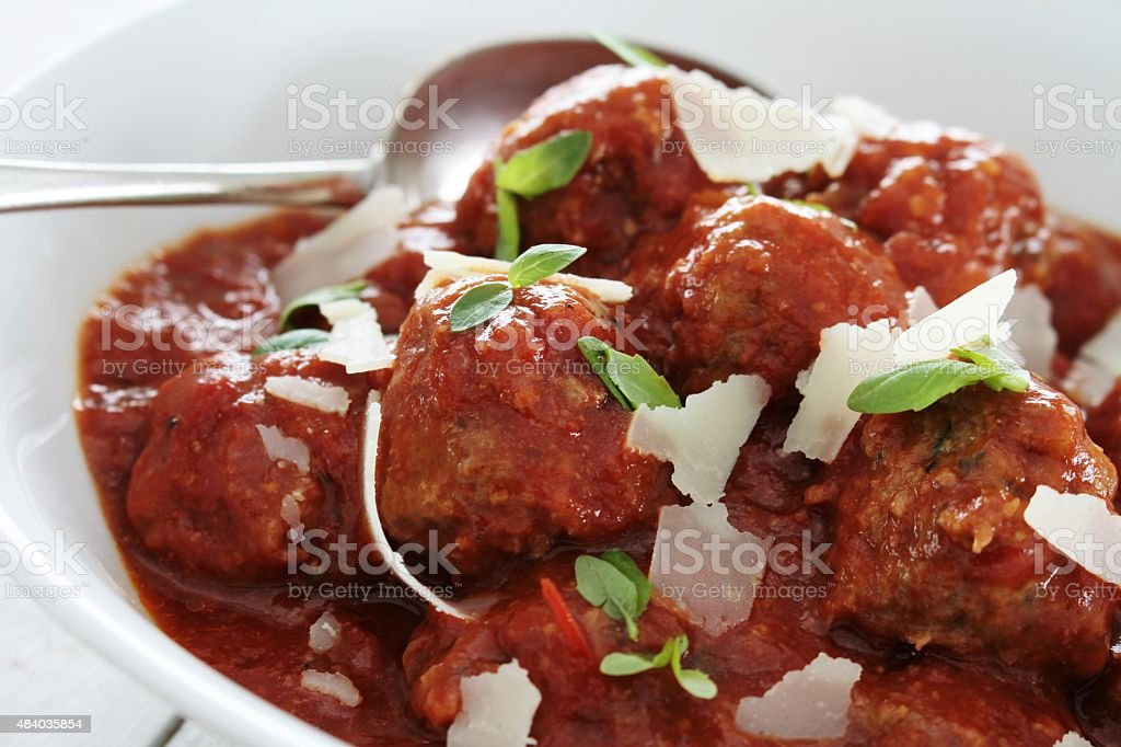 traditional meatballs in tomato sauce stock photo