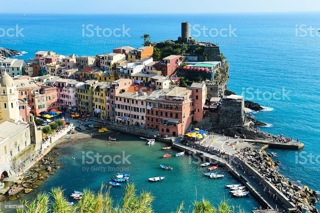Traditional Mediterranean architecture of Vernazza, Italy stock photo