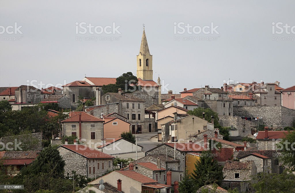 Traditional Mediterranean houses with red tiled roofs. stock photo