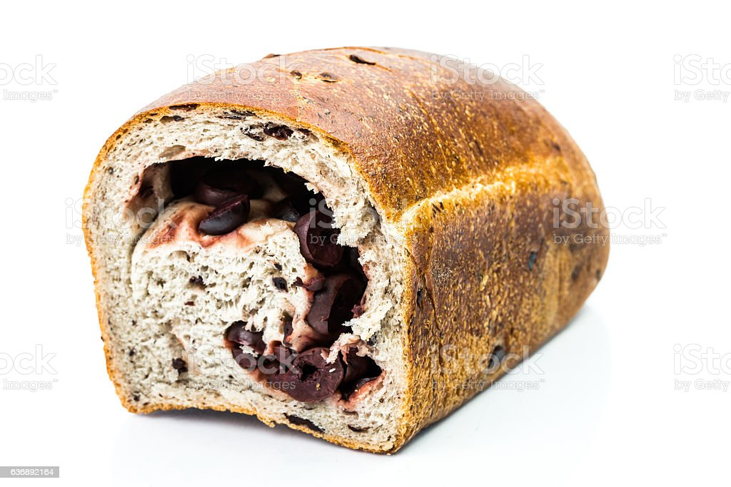 Traditional Mediterranean Strudel bread with inside black olives stock photo