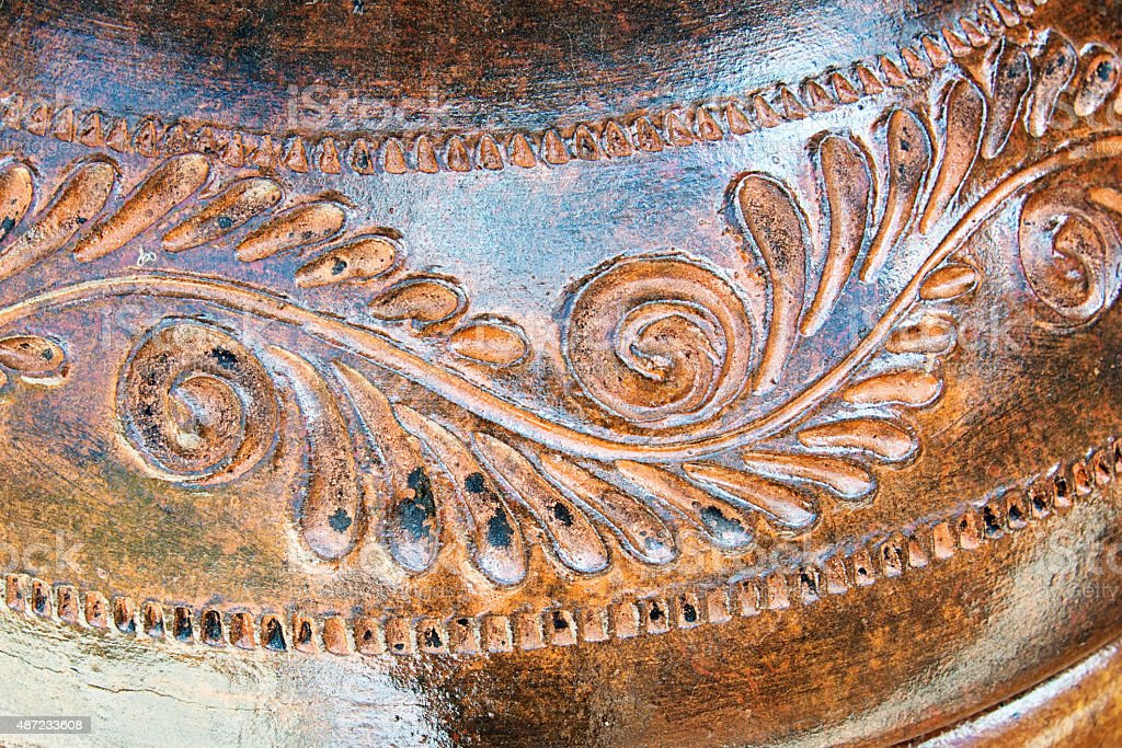 Traditional Mexican Ceramic Pot Detail stock photo