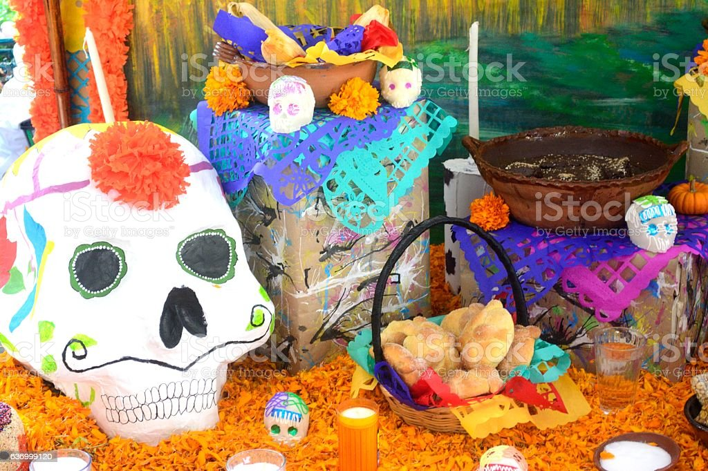 Traditional mexican Day of the dead altar stock photo