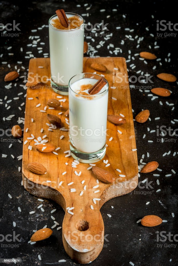 Traditional Mexican drink Horchata stock photo