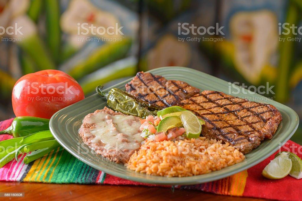 Traditional Mexican food carne asada stock photo